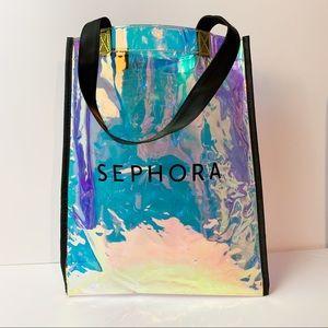 Sephora Large Holographic Tote Shopping Bag Black Handles